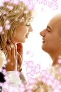 couple in love with flowers - stock illustration