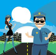 policewoman and a policeman on duty - stock illustration
