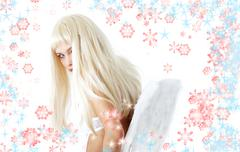 Winter angel with snowflakes Stock Illustration