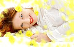 Spring beauty with yellow flowers Stock Illustration