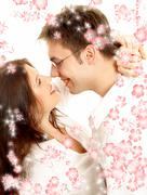 Sweet couple with red flowers Stock Illustration