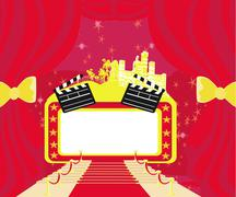 red carpet hollywood premier , abstract card,movie clapper board frame - stock illustration