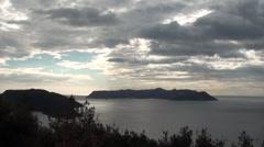 Sea panorama clouds and azan audio Stock Footage