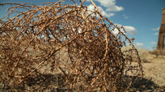 Tumbleweeds abandoned ranch ghost town desert #3 Stock Footage