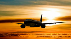 America airplane sunset - stock footage