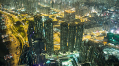 Aerial time lapse of the Olympic area of Kowloon, Hong Kong Stock Footage