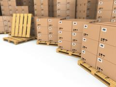 storage. cardboard boxes on pallet. - stock illustration