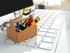online support. toolbox with tools on laptop. - stock illustration