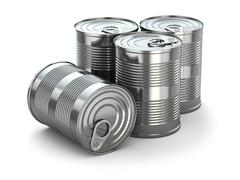 food tin cans on white isolated background. - stock illustration