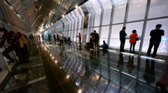 Time lapse of people in sightseeing hall,modern glass building inter. Stock Footage