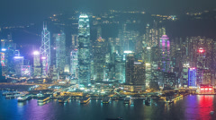 Hong Kong island at night time lapse Stock Footage