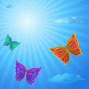 Butterflies in the sky Stock Illustration