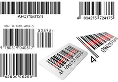 bar codes in different styles with red laser line - stock illustration