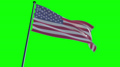 USA Flag with greenscreen and alpha Stock Footage