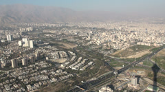 Tehran, view from Milad Tower towards Alborz mountains - stock footage