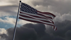USA Flag, HQ animated on a doomy background Stock Footage