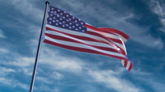 USA Flag, HQ animated on a neutral background Stock Footage