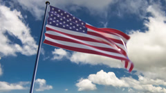 USA Flag, HQ animated on an epic background Stock Footage
