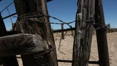 Abandoned Ranch Ghost Town Fence Crane Down Stock Footage