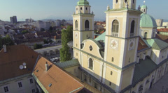 AERIAL: Sunny city Stock Footage