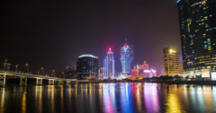 4K time lapse of Macau casinos and Nam Van Lake at night Stock Footage