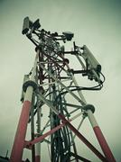 Stock Photo of signal receiving tower of a mobile company