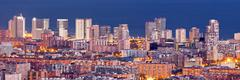 Aerial view of financial district in barcelona at blue hour Stock Photos