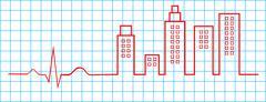 Electrocardiogram City Life Concept - stock illustration