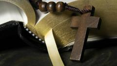 Rosary and bible Stock Footage