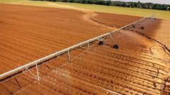 Sprinklers in the fild - aerial shot Stock Footage