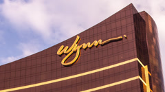Time lapse of clouds passing over the Wynn casino resort in Macau Stock Footage