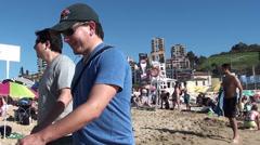 0995  Reñaca Beach, Viña del Mar, Chile Stock Footage