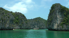 Mountain island in Halong Bay Stock Footage