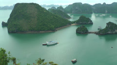 Panorama of Halong Bay Stock Footage