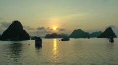 Sunset in Halong Bay Stock Footage