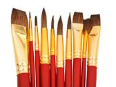Stock Photo of several watercolor paintbrushes close up