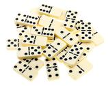 Stock Photo of top view of scattered dominoes