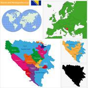 Bosnia and Herzegovina map - stock illustration