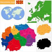 Macedonia map - stock illustration