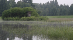 Swamp misty with hunting hide Bavaria Stock Footage
