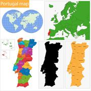 Portugal map - stock illustration