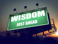 Wisdom Just Ahead on Green Billboard. Stock Illustration
