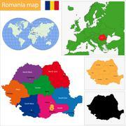 Romania map - stock illustration