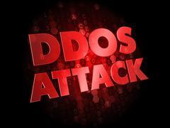 DDoS Attack on Dark Digital Background. Stock Illustration
