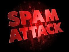 Spam Attack on Dark Digital Background. - stock illustration