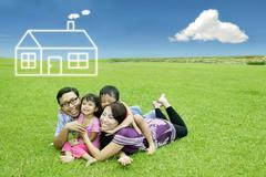 Asian family with dream house Stock Illustration