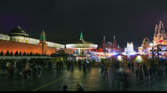 4K. People on New Year holidays on Red Square decorated and arranged for New Yea Stock Footage