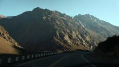 Driving Along Andes in Argentina POV Stock Video Stock Footage