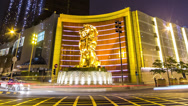 Stock Video Footage of Time lapse of the MGM Lion and casino in Macau at night