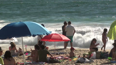 0999  People on summer at Reñaca Beach, Chile Stock Footage